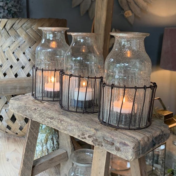 Bottle Tealight Holder in Wire Basket