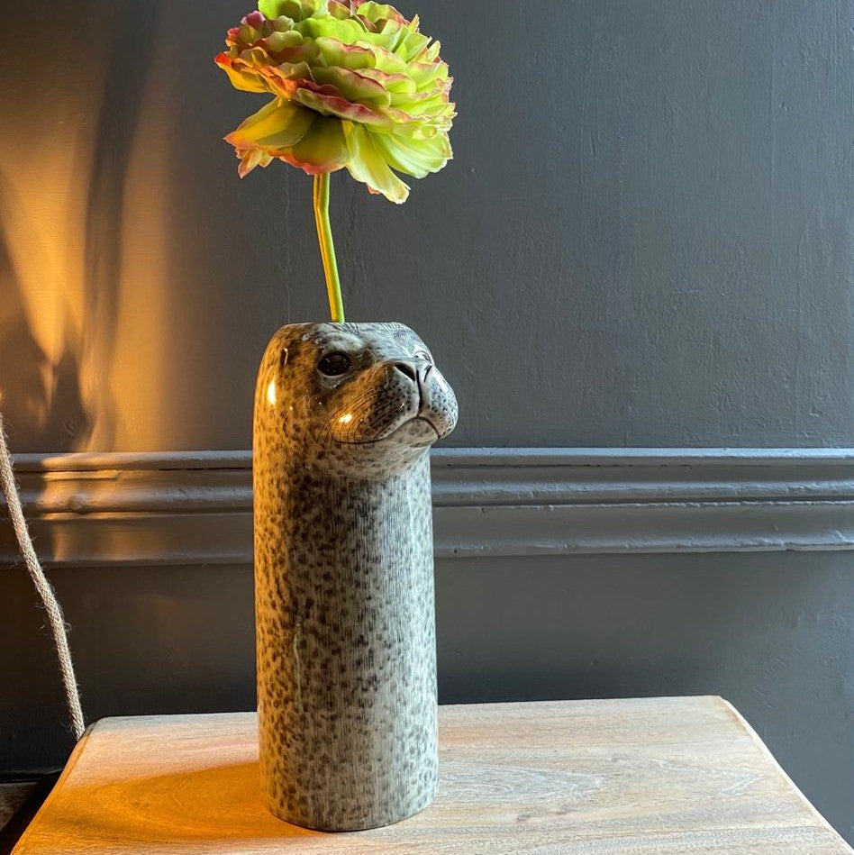 Large Harbour Seal Flower Vase By Quail Ceramics