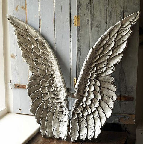 Large decorative silver angel wings