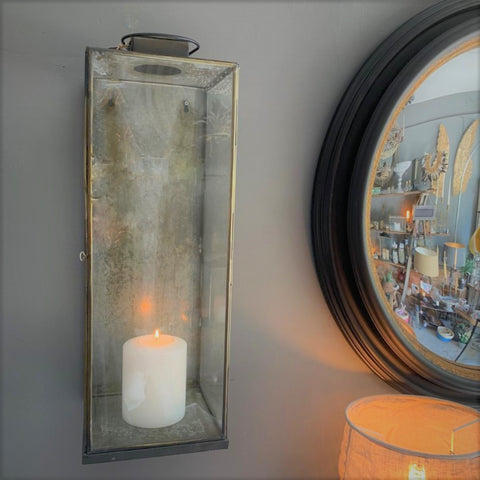 Tall Antiqued Metal and Glass Wall Lantern