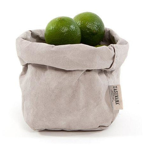 Washable Paper Bag from Italy - Light Grey - Small