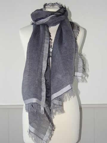 Cotton & Silk Scarf with Silk Trim from Jo Edwards - Greige - Home & Garden - Chiswick, London W4