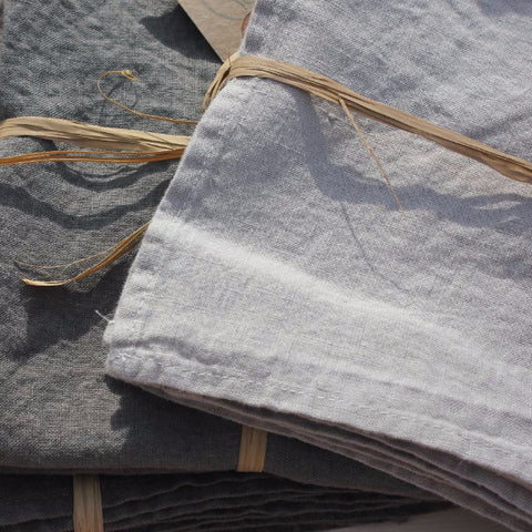 Grey Flint Natural Mouse French Linen Napkins