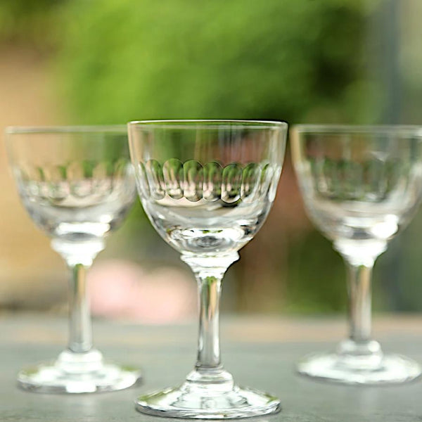 Vintage Style Liqueur Glass - Boxed Set of Six - Lens Design - Greige - Home & Garden - Chiswick, London W4