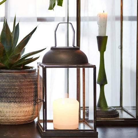 Small Lucca Antiqued Metal Lantern - Greige - Home & Garden - Chiswick, London W4
