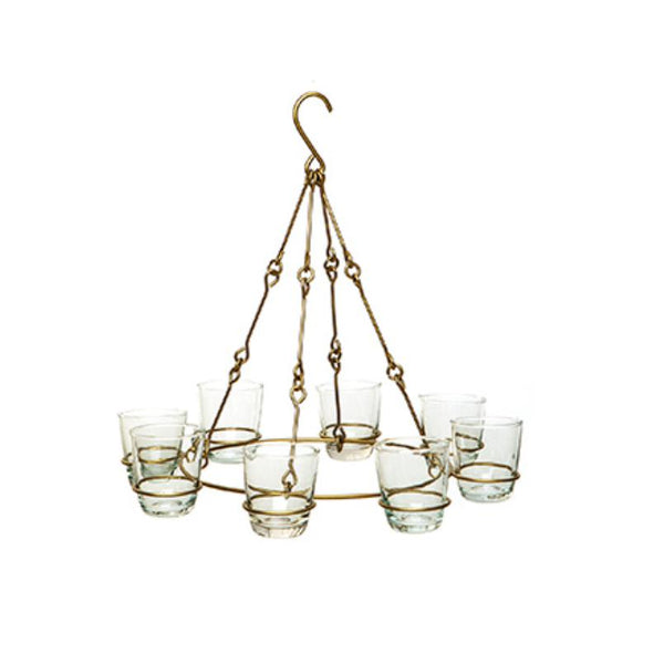 Hanging brass tealight chandelier for eight tealights
