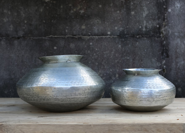 Handmade Etched Aluminium Vase - Bulbous Shape - Two Sizes - Greige - Home & Garden - Chiswick, London W4