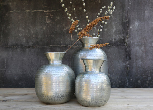 hand made and hand etched aluminium vases three sizes