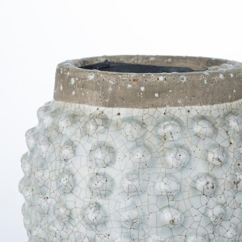 White Crackle Glazed Dotty Flowerpot or Vase - Small