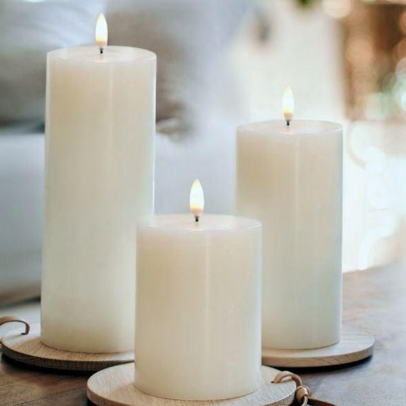 Faux LED Pillar Candles - Greige - Home & Garden - Chiswick, London W4