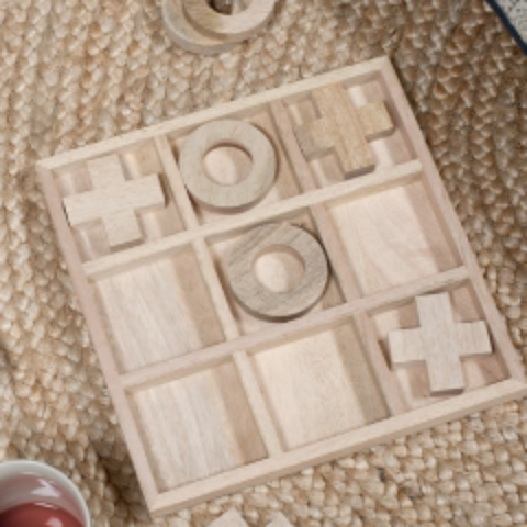 traditional wooden noughts and crosses game