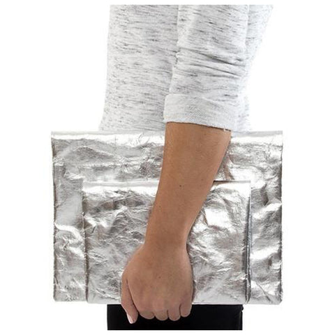 Washable Metallic Paper Clutch Bag - Silver or Platinum - Greige - Home & Garden - Chiswick, London W4