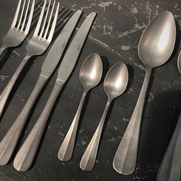 Matt Stainless Steel Cutlery Set - 24 Pieces - Greige - Home & Garden - Chiswick, London W4