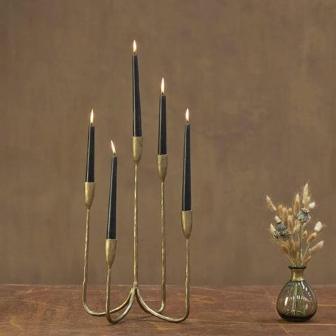 Antique Brass Cluster Candelabra - 5 Arms - Two Sizes