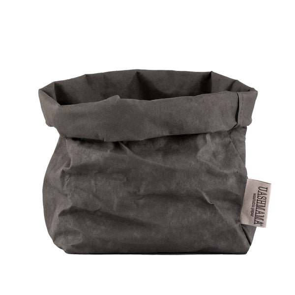 Washable Paper Bag from Italy - Dark Grey - Greige - Home & Garden - Chiswick, London W4