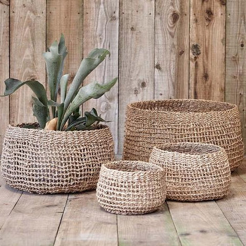 handcrafted open weave seagrass basket