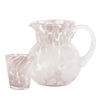 retro glass jug and tumblers with pink spots splodges