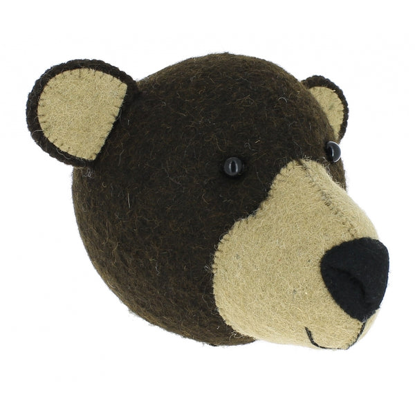 Mini Brown Bear Felt Wall Head by Fiona Walker, England - Greige - Home & Garden - Chiswick, London W4