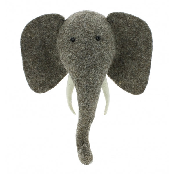 Mini Elephant Felt Wall Head by Fiona Walker, England - Greige - Home & Garden - Chiswick, London W4