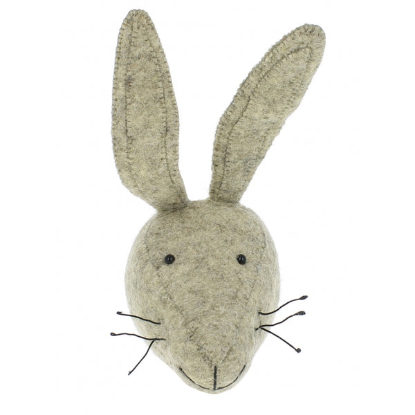 Mini Grey Hare Felt Wall Head by Fiona Walker, England - Greige - Home & Garden - Chiswick, London W4