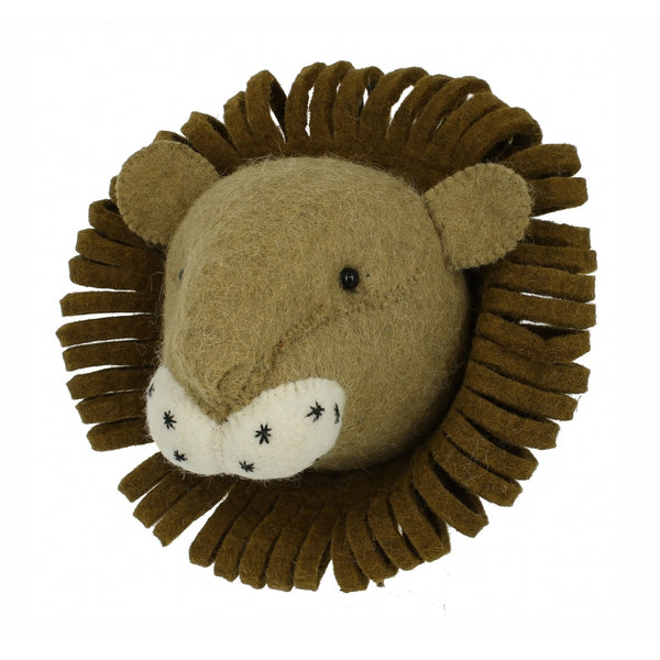 Mini Lion Felt Wall Head by Fiona Walker fairtrade wall art