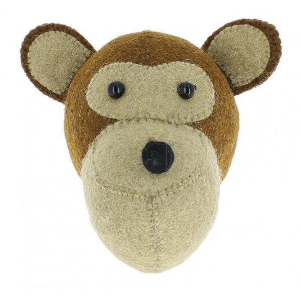 Mini Monkey Felt Wall Head by Fiona Walker, England - Greige - Home & Garden - Chiswick, London W4
