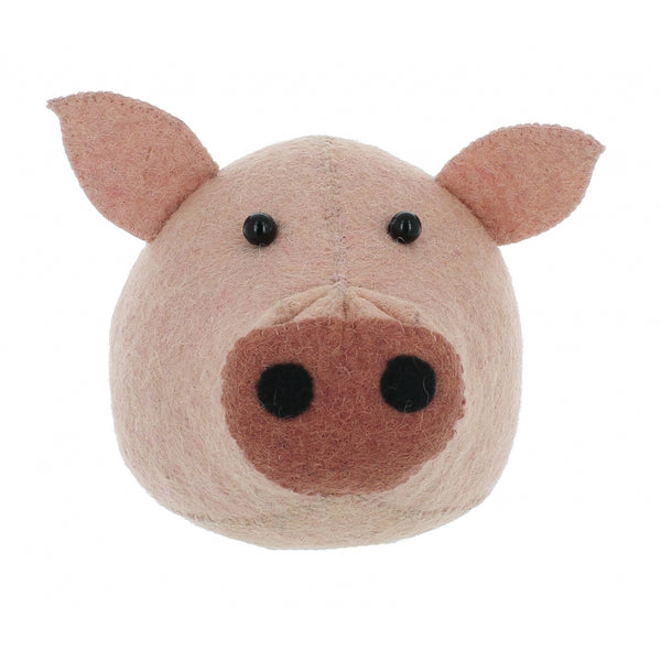 Mini Pig Felt Wall Head by Fiona Walker, England - Greige - Home & Garden - Chiswick, London W4