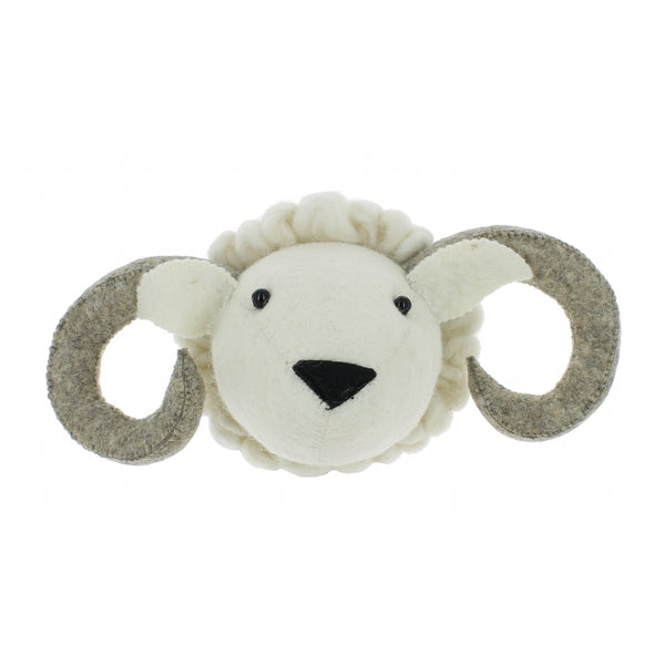 Mini Ram Felt Wall Head by Fiona Walker, England - Greige - Home & Garden - Chiswick, London W4