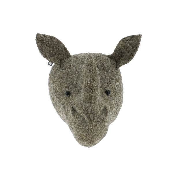 Mini Rhino Felt Wall Head by Fiona Walker, England - Greige - Home & Garden - Chiswick, London W4