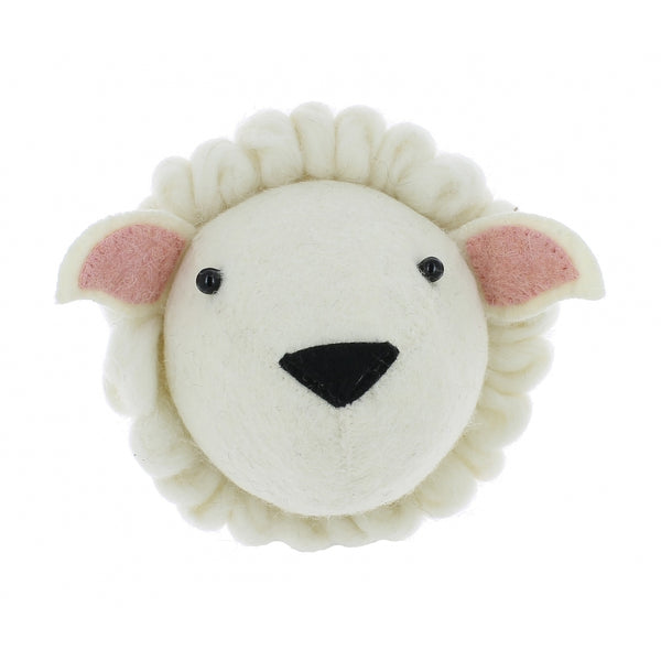 Mini Sheep Felt Wall Head by Fiona Walker, England - Greige - Home & Garden - Chiswick, London W4