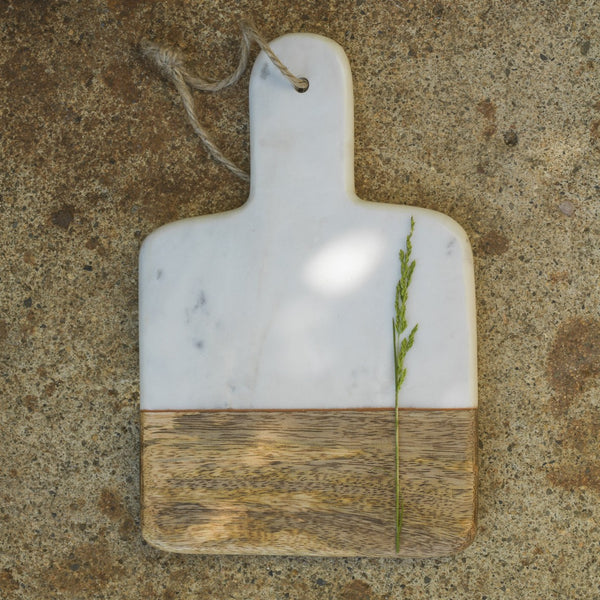 Mini Mango Wood & Marble Paddle Board - White or Grey - Greige - Home & Garden - Chiswick, London W4