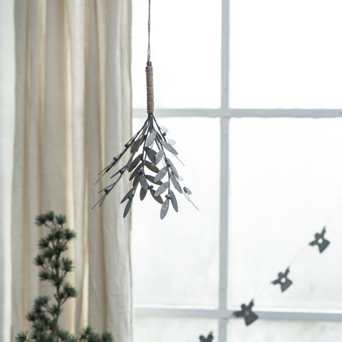 Rustic Hanging Mistletoe in antique zinc