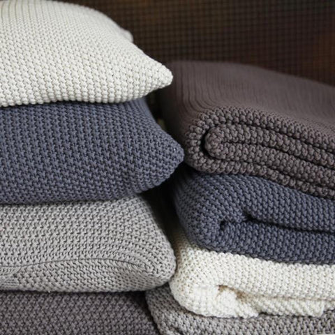 Cosy, Warm & Soft Moss Stitch Cotton Throw - Greige - Home & Garden - Chiswick, London W4