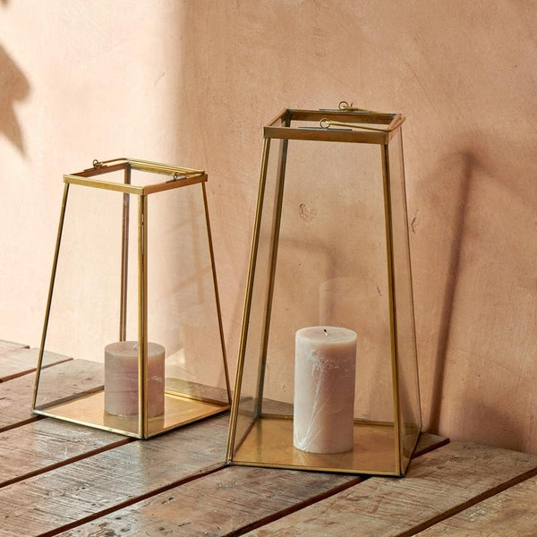 Macey Brass and Glass Lantern - Two Sizes - Greige - Home & Garden - Chiswick, London W4