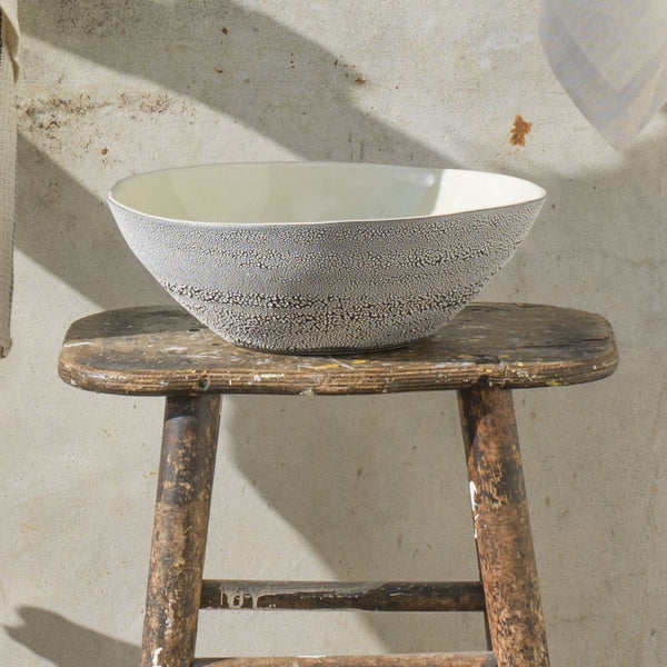 mud pan cracked glaze ceramic salad bowl grey