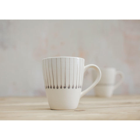 Handmade Ceramic Tall Mug from Vietnam - Grey Matchstick Design - Greige - Home & Garden - Chiswick, London W4