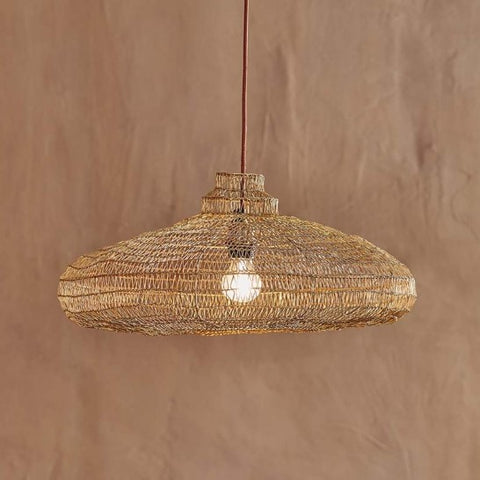 Organic Oval Shape Wire Lamp Shade - Antique Brass