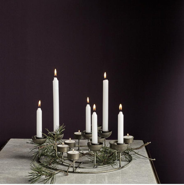 Multi Tealight and Candle Holder - Antique Zinc Finish - Greige - Home & Garden - Chiswick, London W4