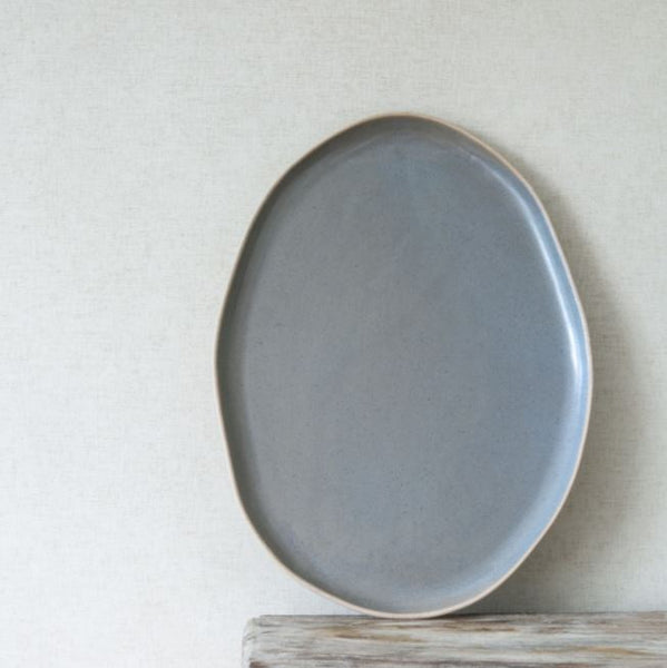 Ceramic Serving Platter - Organic Oval Shape - Mushroom Colour - Greige - Home & Garden - Chiswick, London W4