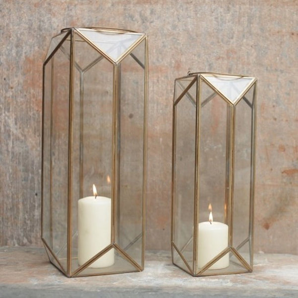 Tall Antique Brass and Glass Lantern - Greige - Home & Garden - Chiswick, London W4