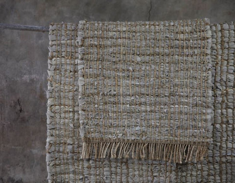 Textured Hemp and Leather Rug Natural