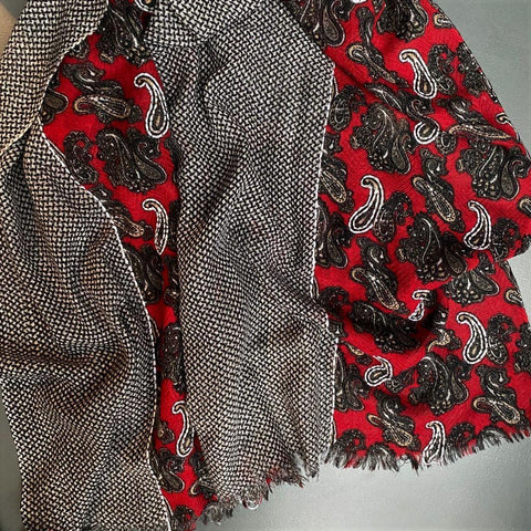 Pure Wool Paisley Scarf Red Black Cream Taupe