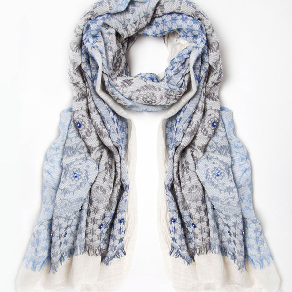 Blue Sequins and Pearl Scarf by Ombre London - Greige - Home & Garden - Chiswick, London W4
