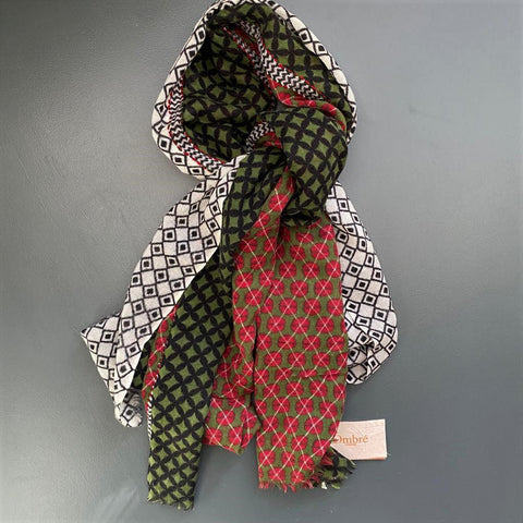Wool and Silk Geometric Pattern Scarf by Ombre London
