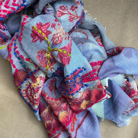 Tree Flowers and Peacock Pure Wool Scarf by Ombre London