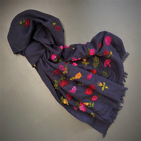 Navy Wool and cotton scarf with colourful embroidered flowers and leaves