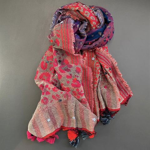 colourful animal print scarf with tassels