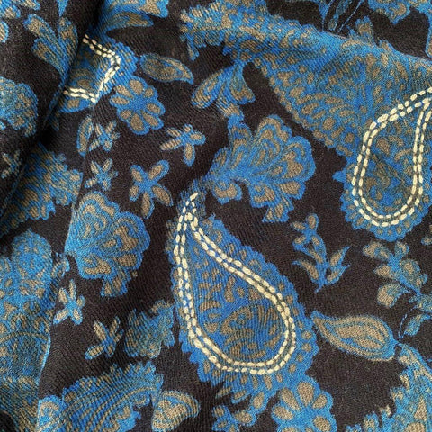 Blue Black Taupe Paisley Pure Wool Scarf