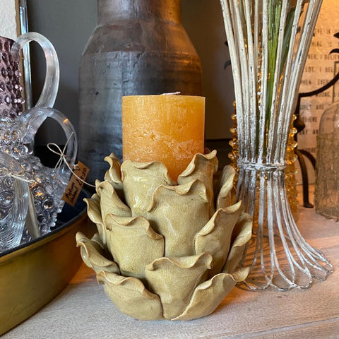 ochre artichoke ceramic candle holder