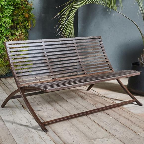 Iron Outdoor Bench - Greige - Home & Garden - Chiswick, London W4